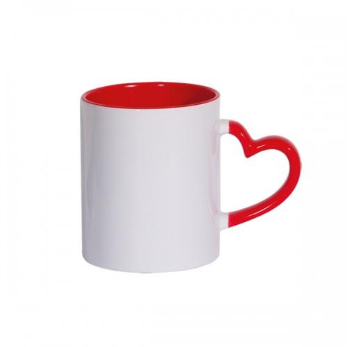 Κούπα λευκή - κόκκινο εσωτερικό και χερούλι καρδιά με τύπωμα της αρεσκείας σας