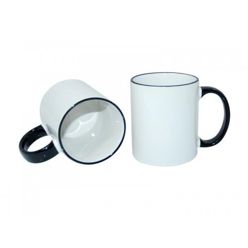 Κούπα λευκή με μαύρο χερούλι, στόμιο κι εκτύπωση