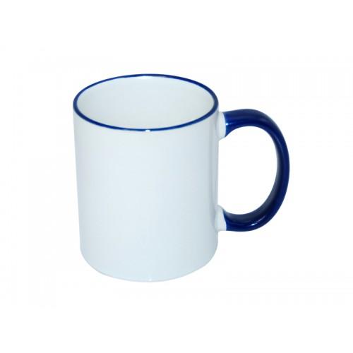Κούπα λευκή με μπλε χερούλι, στόμιο κι εκτύπωση