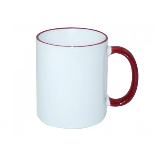 Κούπα λευκή με μπορντώ χερούλι, στόμιο κι εκτύπωση