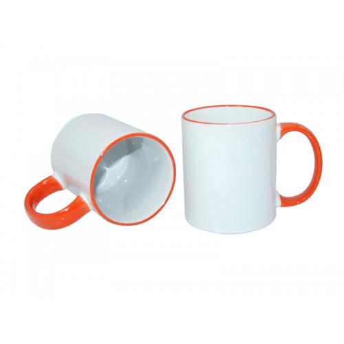 Κούπα λευκή με πορτοκαλί χερούλι, στόμιο κι εκτύπωση