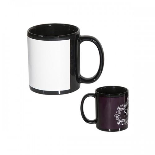 Κούπα μαύρη με λευκό πλαίσιο για εκτύπωση