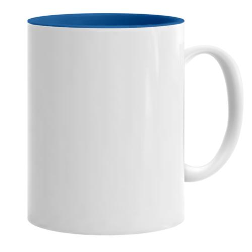 Κούπα λευκή με γαλάζιο εσωτερικό κι εκτύπωση