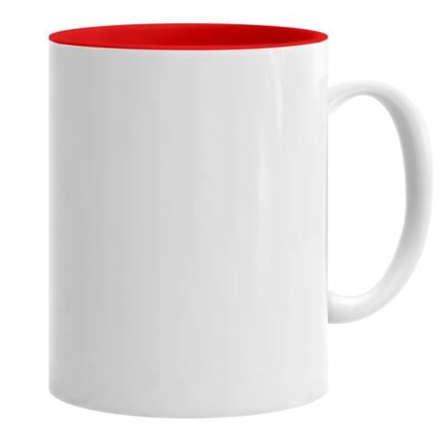 Κούπα λευκή με κόκκινο εσωτερικό κι εκτύπωση