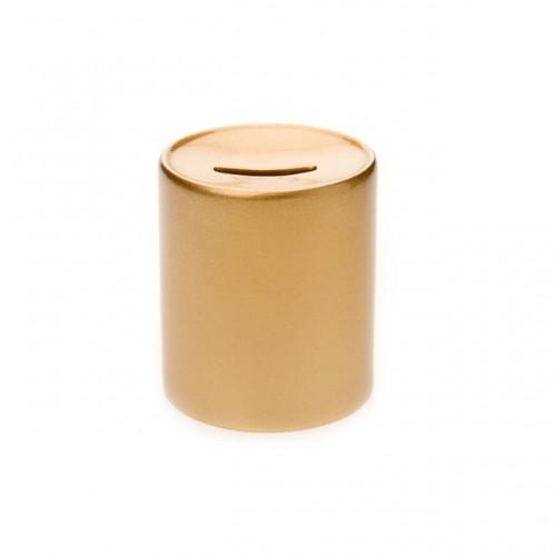Χρυσός κεραμικός κουμπαράς με εκτύπωση