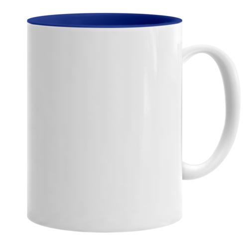 Κούπα λευκή με μπλε εσωτερικό κι εκτύπωση