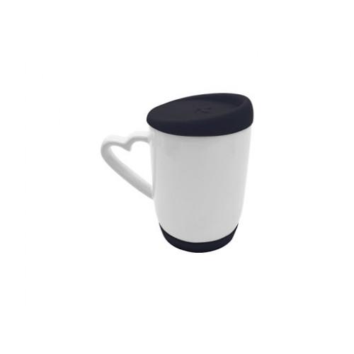 Κεραμική Κούπα • Λευκή 12oz - 354ml • με Μάυρο Καπάκι & Βάση Σιλικόνης