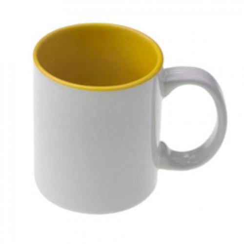 Κούπα λευκή με κίτρινο εσωτερικό κι εκτύπωση